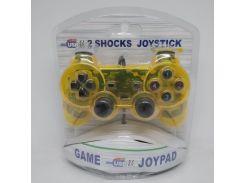 USB джойстик для ПК PC GamePad DualShock вибро Жёлтый
