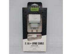 Зарядное устройство Golf GF-U2 SET Travel charger + Micro cable 2USB 2,1A Белый