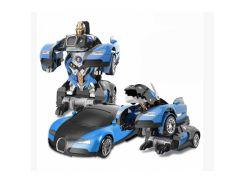 Машинка Трансформер Bugatti Veyron Robot Car Size 1:18 С ПУЛЬТОМ Маленькая Синяя
