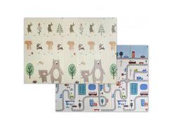 3D Коврики в детскую, термо, экологически чистые и безопасные  (двухсторонний) Складной  1.5m*2.0*6mm (Машинки и Мишки)