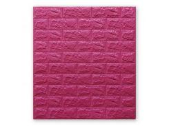 3D Панель для стен:цвет однотонный (под кирпич) лофт (самоклеящиеся) 7мм Темно-розовый