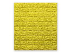 3D Панель для стен:цвет однотонный (под кирпич) лофт (самоклеящиеся) 7мм Желтый