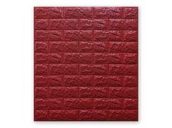3D Панель для стен:цвет однотонный (под кирпич) лофт (самоклеящиеся) 7мм Красный