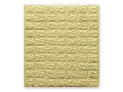 3D Панель для стен:цвет однотонный (под кирпич) лофт (самоклеящиеся) 7мм Бежевый