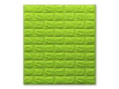 3D Панель для стен:цвет однотонный (под кирпич) лофт (самоклеящиеся) 7мм Зеленый
