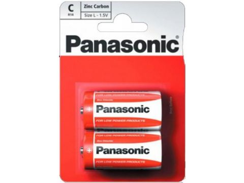 Батарейка Panasonic R14 Red Zink-Carbon (BLI/2) Ровно