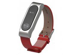 Ремінець Mijobs PU Leather Band для фітнес браслету Xiaomi Mi Band 2 Red/срібний