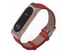 Ремінець Mijobs PU Leather Band для фітнес браслету Xiaomi Mi Band 2 Red/Gold