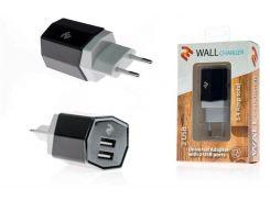Зарядний пристрій 2E Wall Charger Dual USB Black  (2E-WCRT58-B)