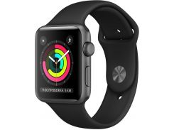 Смарт годинник Apple Watch Series 3 A1859 GPS 42mm Space Grey Aluminium with Black Sport Band  (MQL12)