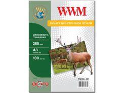 Фотопапір A3 WWM шовковистий глянсовий 100 аркушів (SG260A3.100)