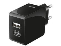 Зарядний пристрій Trust Fast Dual USB-C and USB Wall Charger Black  (21589)