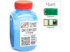 Тонер + чіп АНК for OKI C301/321 Cyan 50g