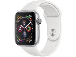 Смарт годинник Apple Watch Series 4 GPS 44mm Silver Aluminium with White Sport Band  (MU6A2)