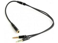 Розгалужувач Cablexpert Jack 3.5mm / 2x3.5mm 0.2m Black  (CCA-418M)
