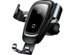 Кріплення для мобільного телефону Baseus Wireless Charger Gravity Car Mount Black  (WXYL-B0A)