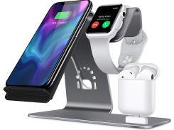 Док-станція Showkoo for Apple 3in1 Phone Qi Wireless Charging Stand Grey