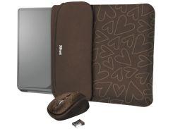 Чохол для ноутбука Trust YVO, Brown Hearts + Мишка