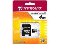 Карта пам'яті Transcend MicroSDHC 4ГБ (TS4GUSDHC4)