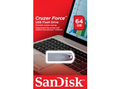 Флешка USB SanDisk Cruzer Force Metal 64 ГБ (SDCZ71-064G-B35) срібна