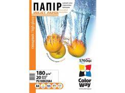 Фотопапір A4 ColorWay PG180-20 20 аркушів (PG180020A4)