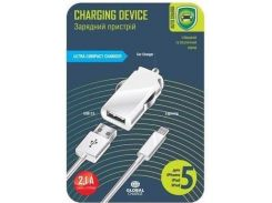 Автомобільний зарядний пристрій Global MSH-SC-031 2.1A + Lightning White