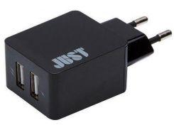 Мережевий зарядний пристрій Just 2xUSB 3.4 A Black