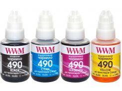 Комплект чорнил WWM GI-490 for Canon G1400/G2400/G3400 B/C/M/Y (4x140g)