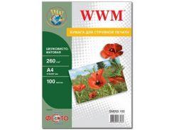 Фотопапір A4 WWM шовковисто матовий 100 аркушів (SM260.A4.100 )