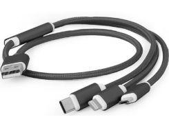 Кабель Cablexpert AM Lightning MicroB Type C 1m Black  (CC-USB2-AM31-1M)