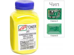 Тонер + чіп АНК for OKI C3400/3300 Yellow бутль 110g
