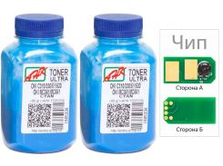Тонер  + чіп АНК for OKI C510/511/530 Cyan бутль 2x80g Ultra Color