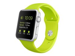Apple Watch 42mm Silver Aluminum Case with Green Sport Band (MJ3P2)