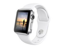 Apple Watch 38mm Stainless Steel Case with White Sport Band (MJ302)