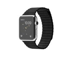 Apple Watch 42mm Stainless Steel Case with Black Leather Loop (MJYN2)