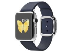 Apple Watch 38mm Stainless Steel Case with Blue Modern Buckle (MJ342)