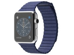 Apple Watch 42mm Stainless Steel Bright Blue Leather Loop (MJ452)