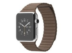 Apple Watch 42mm Stainless Steel Case with Light Brown Leather (MJ402)