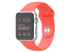 Apple Watch 42mm Silver Aluminum Case with Pink Sport Band (MJ3R2)