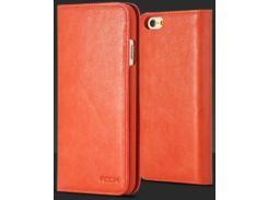 """Кожаный чехол (книжка) ROCK Elite Series для Apple iPhone 6/6S (4.7"""") (Оранжевый / Orange)"""