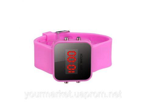 Спортивные светодиодные цифровые наручные часы розовые 9817 Чернигов