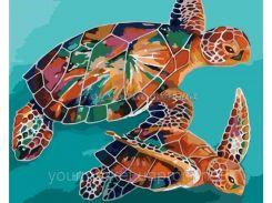 """Картина за номерами Тварини та птахи """"Черепахи"""" 40х50 см, арт. 2455, Идейка"""