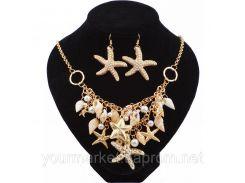 Набор украшений Neylanly морской стиль ожерелье с ракушками, сережки в виде морских звезд