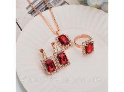 Набор украшений Feng ожерелье, серьги, кольцо с камнями красного цвета