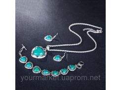 Винтажный набор украшений ожерелье, браслет, серьги камень зеленого цвета подарок для женщин