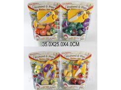 Овощи и фрукты 9805/6 (12-13)  4 вида,делятся пополам,с ножом, досточкой,на планшетке 35*25*