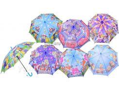 Зонт CL1719  6 видов, с рисунком, герои, в пакете 50см