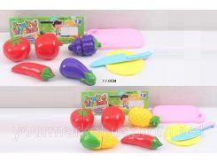 Овощи и фрукты JJL001-2B/3B  2 вида,делятся пополам,нож,тарелка,досточка, в пак.17см