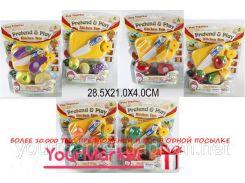 Овощи и фрукты 9810/11/12 (1536414-5-6)6в,дел пополам,с ножом, досточкой,на планш. 28*21*4с
