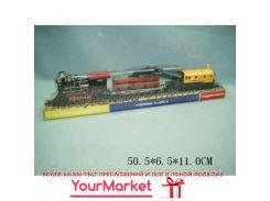Паровоз батар 1803 (307062R) (48шт/2)+ 2 платформы с краном,бревнами,под слюдой 50,5*6,5*11см